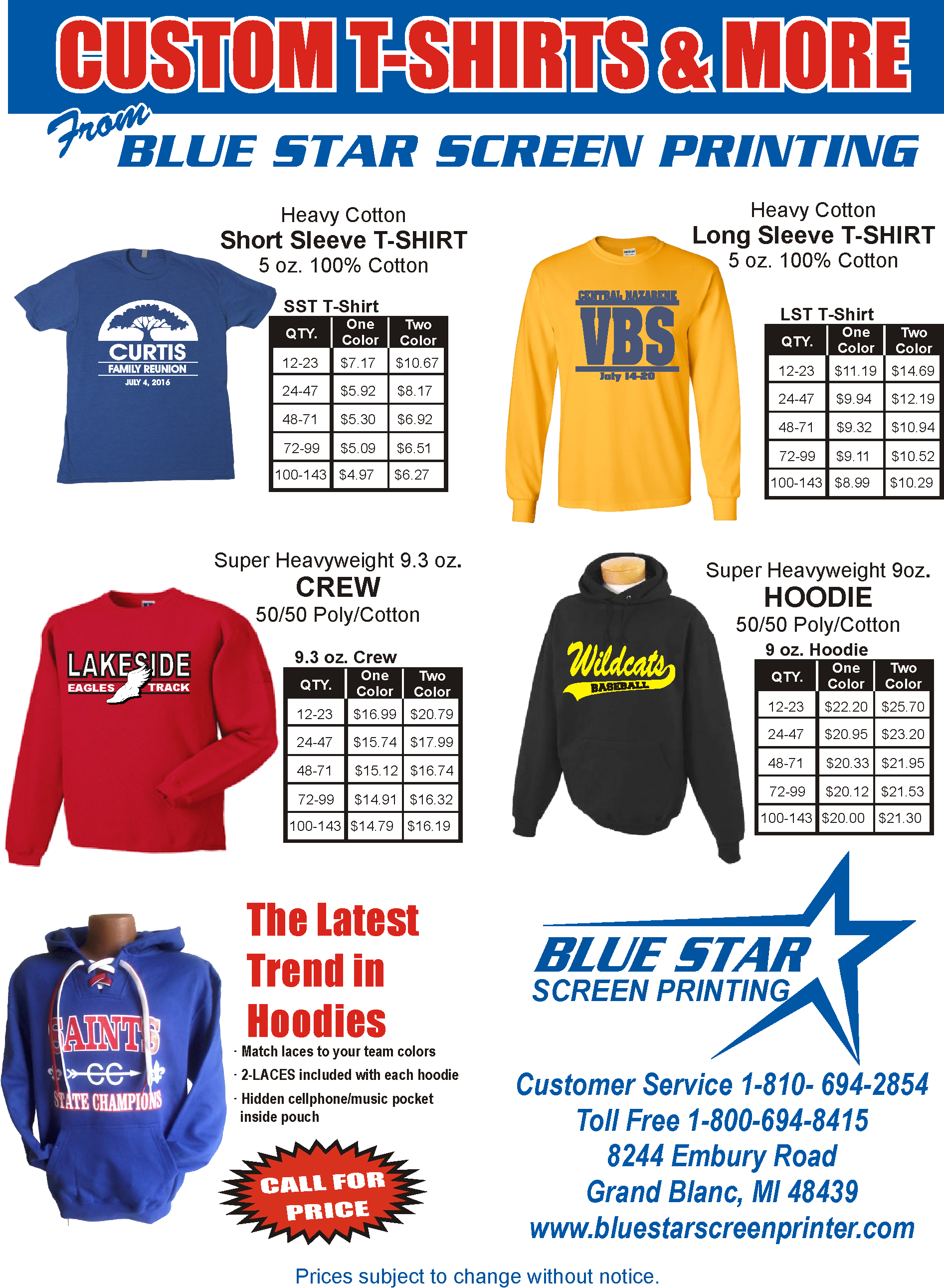 Screen Printing: Blue Star provides custom screen printing for all types of organizations. Whether it is for teams, corporate, schools, church or non-profit groups, we can fulfill your needs. We provide printing for the following: Jackets, Uniforms, T-Shirts, Sweatshirts, Hoodies, Bags, And much more!